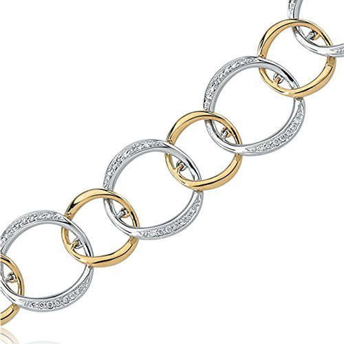 Diamond Hoop Bracelet in 14k White and Yellow Gold