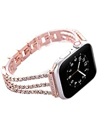Watch Straps compatible Apple Watch 42mm/44mm,Women Glitter Stainless Steel Band,Rose Gold Bracelet with Folding clasps Replacement Wristband for iWactch 44mm 42mm Series 4/3/2/1