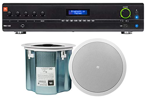 (JBL VMA1120 120W 70v Amplifier+(2) JBL White 8