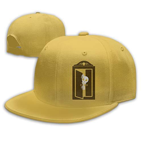 Adjustable Sports Plain Baseball Cap, Skeleton Open The Door Halloween Solid Twill Hat, Unisex ()