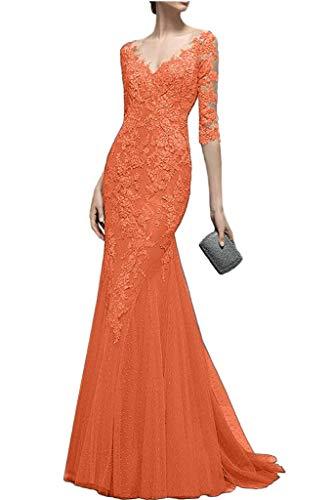 Langarm Spitze Abendkleider Braut Orange Promkleider Meerjungfrau La Celebritykleider Figurbetont mia 2017 AxPOypwFtq