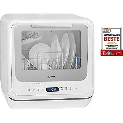 Bomann TSG 7402 Mini Lave-Vaisselle avec écran LED, réservoir d'eau intégré 5 litres, 5 programmes + Fonction supplémentaire, 2 pulvérisateurs, température de Nettoyage 45°C – 70°C, Blanc