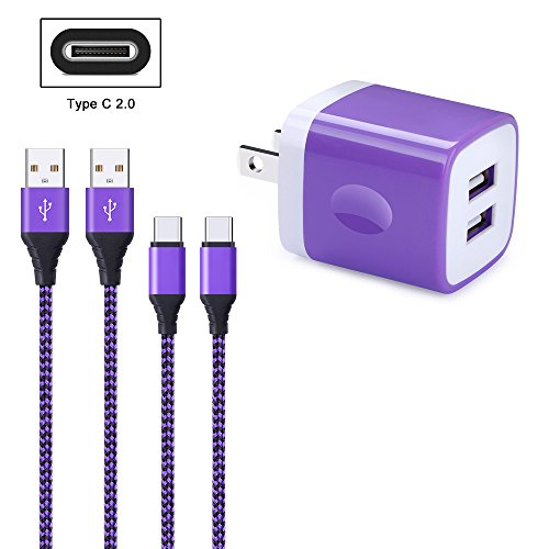 FiveBox 2Pack USB Type C Cable Phone Charger Cord Compatible Samsung Galaxy S9 S8 Note 9 8, LG G5 G6 V30, Nexus 6P, Google Pixel 2, 3 XL, with 2.1A Dual Port USB Wall Charger Box Brick Charging Block