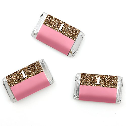 1st Birthday Girl - Fun to be One - Mini Candy Bar Wrappers Birthday Party Favors - 20 (Candy Bar At Party)