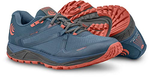 (Topo Athletic Women's MT-3 Trail Running Shoe, Blue/Coral, Size 8.5)