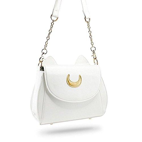 PU Cute Handbag White Sailor Kitty Cat Designer Women Leather Shoulder Tote Luna Bag Satchel Moon qf6w5d6YB