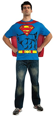 [GTH Men's Deluxe Comics Superman Shirt Theme Party No Scar Fancy Costume, Large (42-44)] (Plus Size Deluxe Superman Costumes)