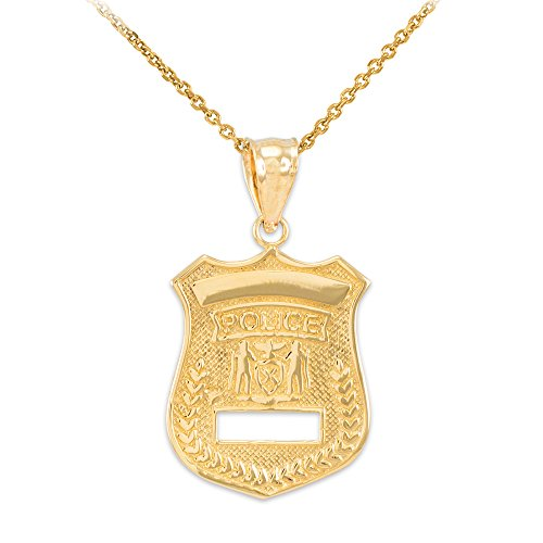 - Solid 14k Gold Police Badge Charm Pendant Necklace, 22