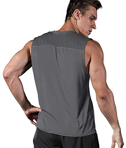 Roadbox Men's Performance Sleeveless Shirts Quick Dry Workout Athletic T Shirts Running, Basketball and Gym Tank Tops Dark Gray