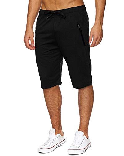 Voncheer Mens Elastic Waist Drawstring Summer Workout Shorts with Zipper Pockets (L, Black Mens - Casual Mens Pants Short