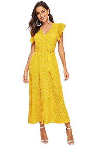 Milumia Women's Summer Button Up Boho Self Tie V Neck Polka Dot Maxi Dress Yellow