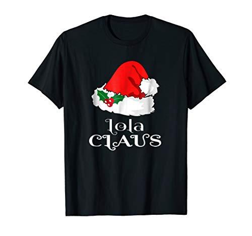 Christmas Lola Claus Matching Pinay Pajama Santa Hat T-Shirt -