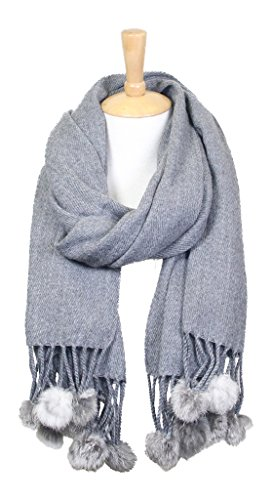 Long Sash Style Scarf (Women's Winter Warm Solid Oblong Scarf with Pom Pom Fringe (Grey))