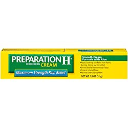 Preparation H Hemorrhoid Symptom Treatment Cream, Maximum Strength Pain Relief with Aloe, Tube (1.8 Ounce) (Pack of 2)