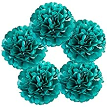 "Hanzen 5 Pcs Mixed 10"" 14"" Teal Blue Tissue Paper Pom Poms Flower Balls For Birthday Wedding Party Baby Shower Outdoor Decorations (Teal)"