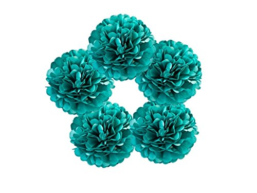 Hanzen 5 Pcs Mixed 10 14 Teal Blue Tissue Paper Pom Poms Flower Balls For Birthday Wedding Party Baby Shower Outdoor Decorations (Teal)