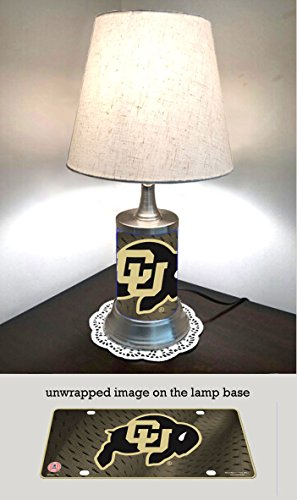 JS Table Lamp with Shade, Colorado Buffaloes Plate Rolled in on The lamp Base (Buffaloes Colorado Lamp)
