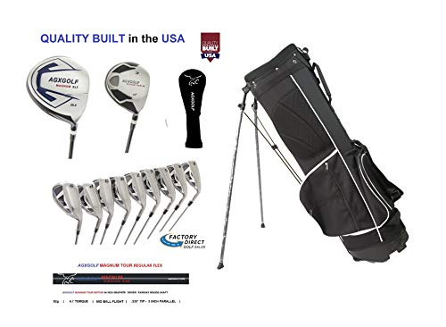 AGXGOLF Men's Tour XS Golf Club Set; Right Hand Regular Length; Graphite Driver & 3 Wood + #3 Hybrid + 5 through 9 Irons + Pitching Wedge + Sand Wedge ()