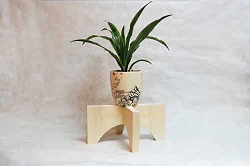 Wood Century Modern Plant Stand Indoor Natural 12x6 Inch Minimalist Decorative Wood Corner Pot Plant Holder Mid Century Vase Floor Coaster for Home Decor Living Room Birthday Housewarming Gift