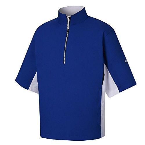 FootJoy HydroLite Short Sleeve Rain Golf Shirt 2017 Royal/White/Black (Footjoy Performance Rain Shirt)