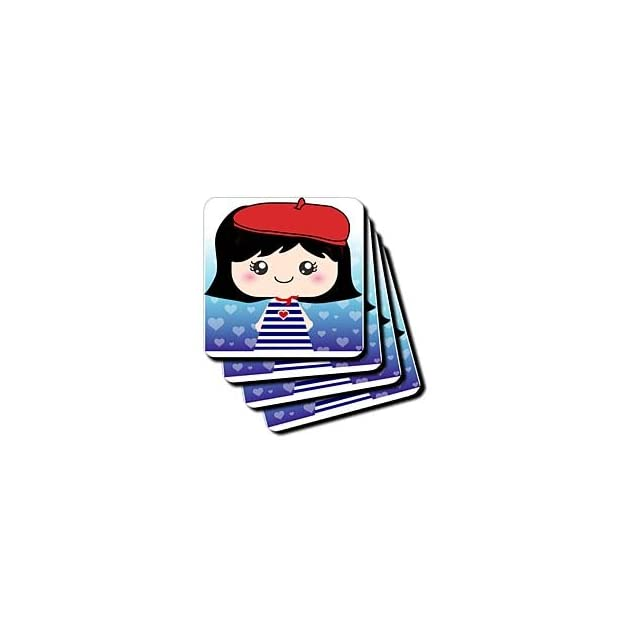 cst_76614_1 InspirationzStore Squeables   Cute Kawaii Cartoon French Girl Doll in traditional France Paris Blue Stripe Dress red beret hat   Coasters   set of 4 Coasters   Soft Kitchen & Dining