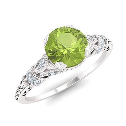 Diamondere Natural and Certified Peridot and Diamond Engagement Ring in 14K White Gold | 1.11 Carat Art Deco Engagement Ring for Women, US Size 5