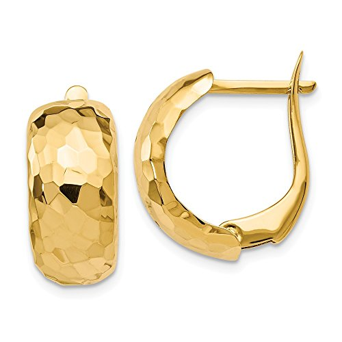 (8.25mm x 18mm (11/16 Inch) 14k Yellow Gold Hammered Omega Back Hoops)