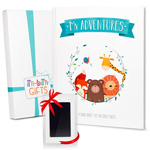 First 5 Years Baby Memory Book + Clean Touch Ink Pad + Gift Box - Baby Photo Album & Baby Journal - Baby Books First Year Memory Book - Modern Baby Shower Gift for Boys & Girls - Scrapbook Design