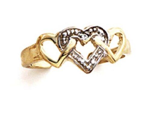 - 14k Two-Tone Gold Diamond 3 Hearts Toe Ring