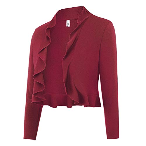 Abollria Women 3/4 Sleeve Bolero Ruffle Shrug Cropped Open Front Thin Cardigan Wine Red ()
