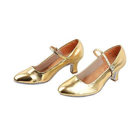 T.T-Q Les Chaussures de Danse de Bal Moderne de Similicuir Talon Gold