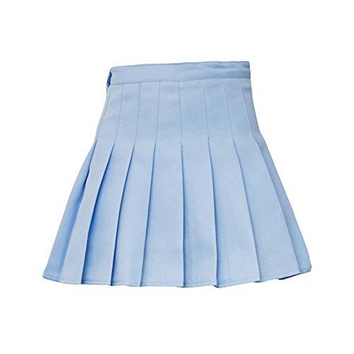 Polyester Cadeau Couleur Femme Haute Jupe Ciel Unie Patineuse Rose de Goodtimes28 Court Bleu Mode Taille Tennis Mini pliss XS 46qOSxAw
