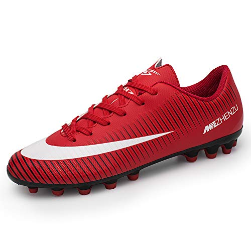 ZNZ CR Soccer High Cleats for Men Youth Football Messi Ankle Low Cut Boots Women Indoor Big Kid Size Training Outdoor AG (8 M US=EUR/39, RED)