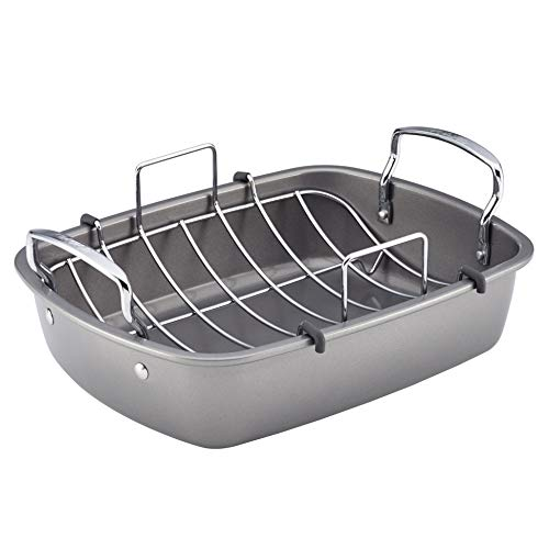 Circulon 56539 Nonstick Roasting Pan / Roaster with Rack - 17 Inch x 13 Inch, Gray