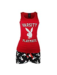 Playboy Women's Varsity Playmate Tank Plush Shorts Pajama Sleepwear Set