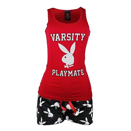 Playboy Women's Varsity Playmate Tank with Plush Shorts Pajama Sleepwear Set Red Large Playboy Shorts