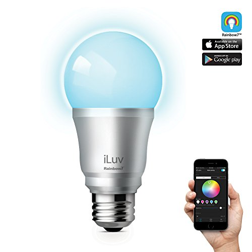 iLuv Rainbow7, Smart Bluetooth Multicolor Dimmable LED Light Bulb with Scheduling and Grouping through Free App
