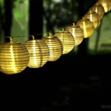 MOSY TECH 20 Chinese Lantern String Lights Warm White Battery Powered Christmas Lights for Patio Garden Lawn