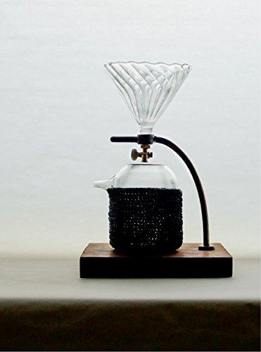 [ bi.du.haev ] biduhaev Greeting Coffee Stand Hot or Cold Brew Coffee Dripper / Maker, Copper / Ironwood / Handmade Glass 450ml