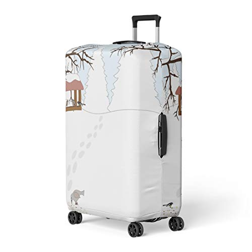 Semtomn Luggage Cover Blue Snow Winter Bird Feeders Yellow Animal Beautiful Beauty Birdhouse Travel Suitcase Cover Protector Baggage Case Fits 26-28 Inch