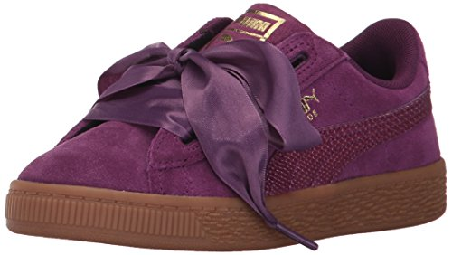 PUMA Unisex-Kids Suede Heart Snk,Dark Purple/Dark Purple,6 M US Big Kid by PUMA