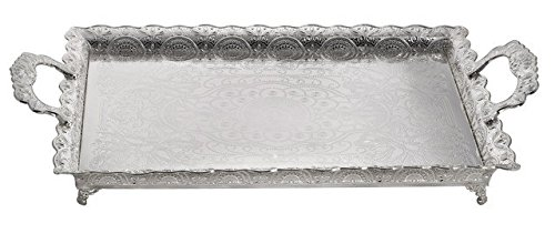 Products Serving Platters (A&M Judaica 58161 Silver Plated Lacquered Tray44; 18.5 x 13 in.)