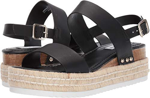 Steve Madden Women's Catia Wedge Sandal Black Leather 8 M US