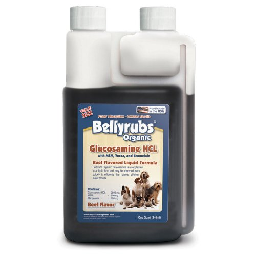 Bellyrubs Organic 32-Ounce Liquid Dog Supplement, Glucosamine HCL with MSM, Yucca and Bromelain, My Pet Supplies