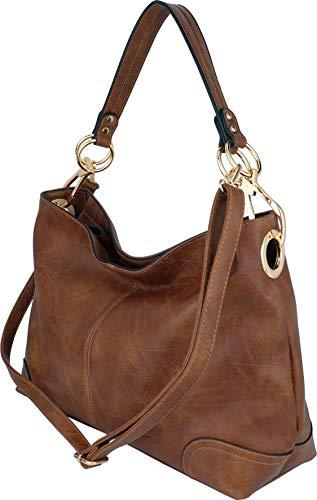 B BRENTANO Large Hobo Shoulder Bag with Snap Hook Hardware (Brown.)