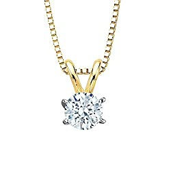 Round Brilliant Cut Diamond Solitaire Pendant Necklace