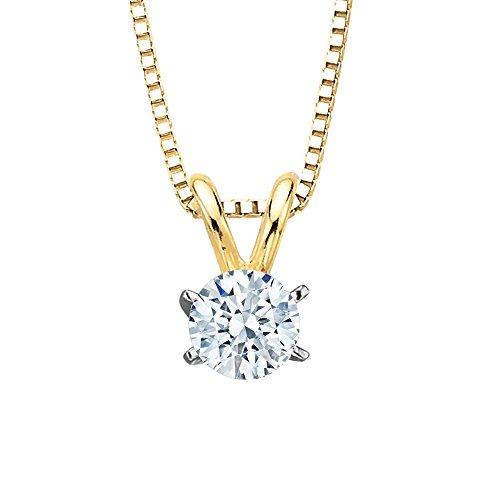 und Brilliant Cut Diamond Solitaire Pendant Necklace in 14K Yellow Gold (Si3 Round Brilliant Cut Diamond)