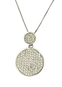 Sterling Silver 925 Clear CZ Micro Pave Circle Pendant Necklace wtih Chain