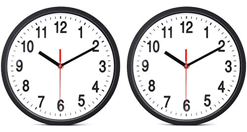 - Foraineam 2-Pack Silent Non Ticking Wall Clock - 10 inch Quartz Battery Operated Clock - Easy to Read with Modern and Elegant Design