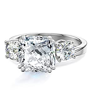 Samie Collection 3 Stone Cushion Cut CZ Engagement Rings for Women Inspired by Royal Wedding with Simulated Diamond…